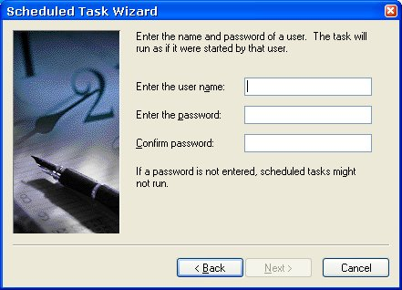 Scheduled Task Wizard - Username/Password